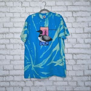 Vtg Loon Single Stitch Custom Bleach Tie Dye Shirt